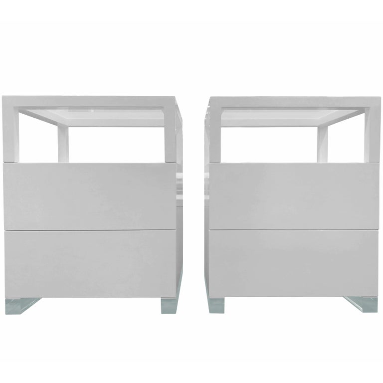Pair of Custom White Lacquer and Lucite Nightstands by Cain Modern For Sale