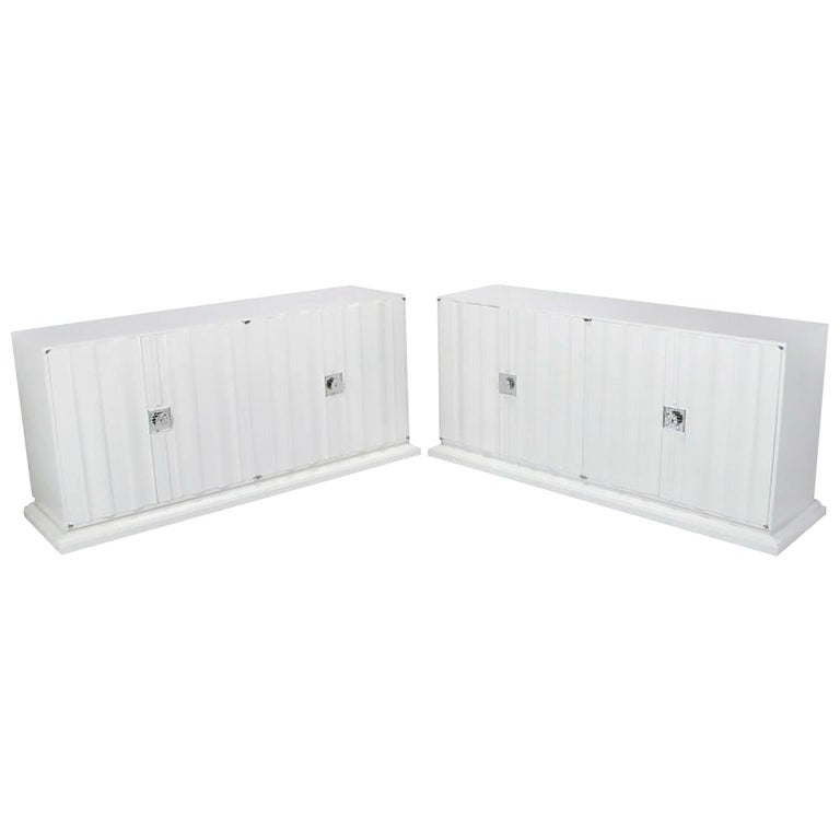 Pair of Custom White Lacquer Linen Fold Cabinets For Sale