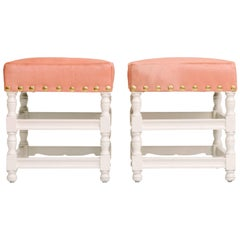 Pair of Custom White Lacquer Stools Upholstered in Pink Hide