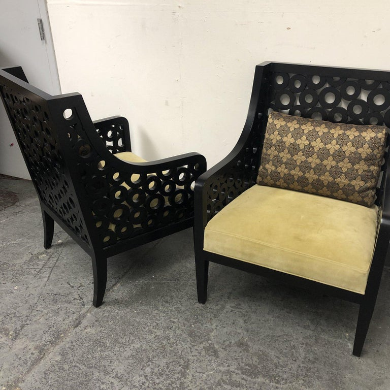 Pair of Custom Wood and Fabric Armchairs For Sale at 1stdibs