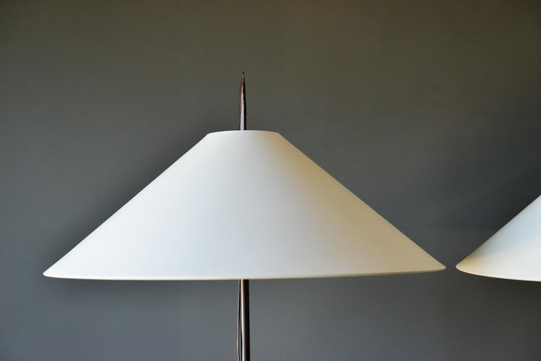 Mid-Century Modern Pair of Custom Wrought Iron Lamps with Shades, circa 1980 For Sale
