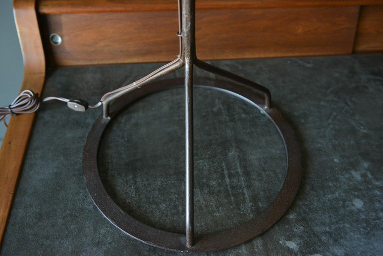 Pair of Custom Wrought Iron Lamps with Shades, circa 1980 In Good Condition For Sale In Costa Mesa, CA