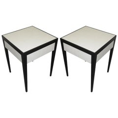 Pair of Customizable Ebonized Parchment End Tables with Central Drawer