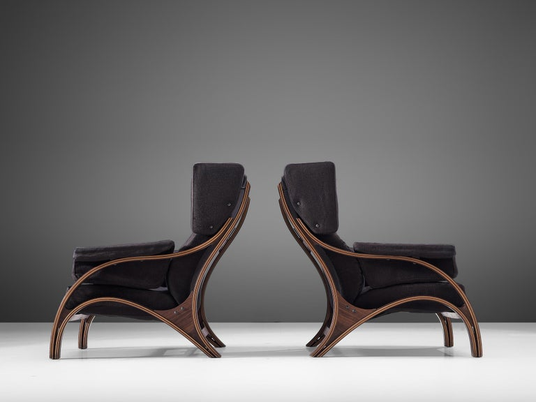 Mid-Century Modern Pair of Customizable Lounge Chairs by Giampiero Vitelli For Sale