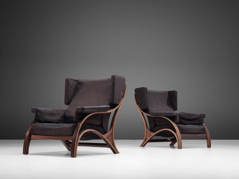Italian Pair of Customizable Lounge Chairs by Giampiero Vitelli For Sale