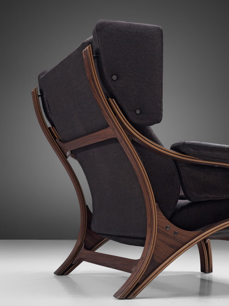 Fabric Pair of Customizable Lounge Chairs by Giampiero Vitelli For Sale