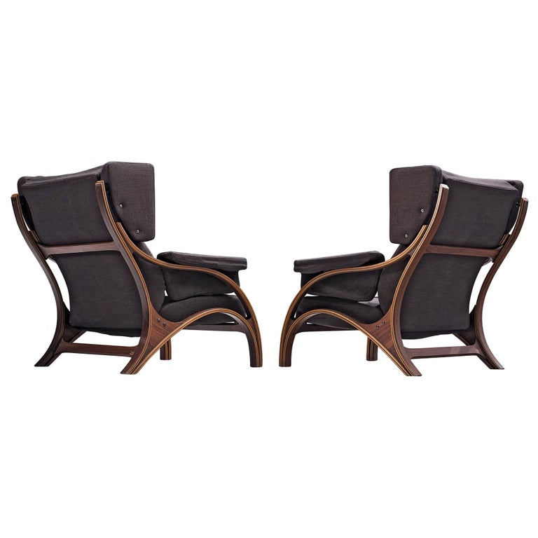 Pair of Customizable Lounge Chairs by Giampiero Vitelli For Sale