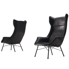 Pair of Customized Black Leather Lounge Chairs