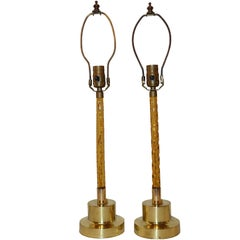 Pair of Cut Amber Glass French Lamps