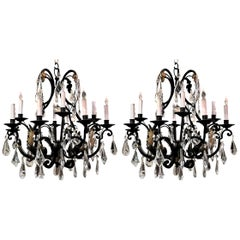 Pair of Cut Crystal and Iron Chandeliers