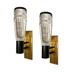 Pair of Cut Crystal Midcentury Sconces