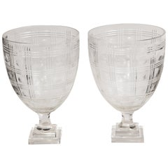Pair of Cut Crystal Urns