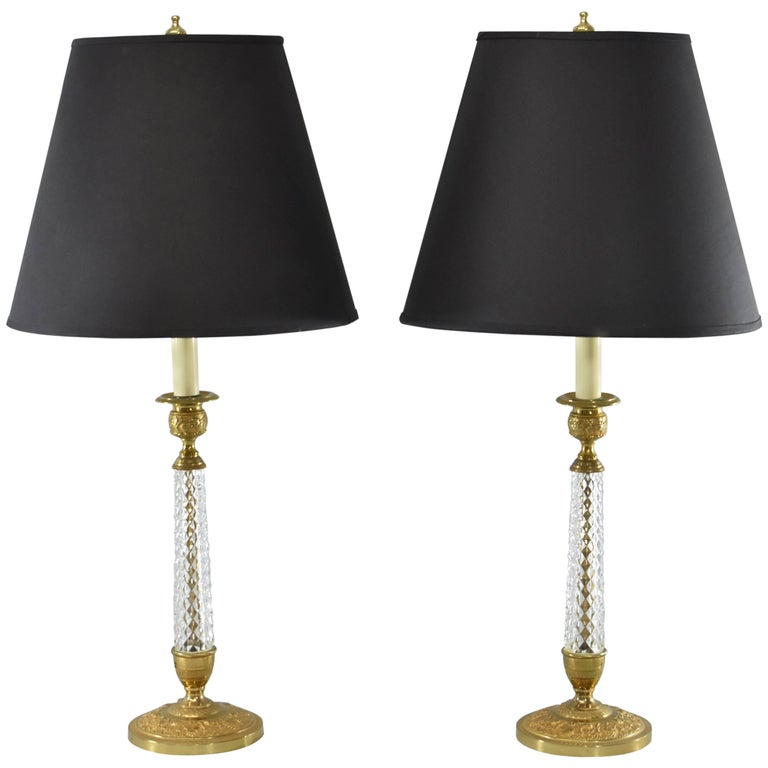 Pair of Cut-Glass and Embossed Metal Boudior Lamps For Sale