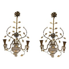Pair of Cut Glass and Gilt Metal Sconces by Bagues