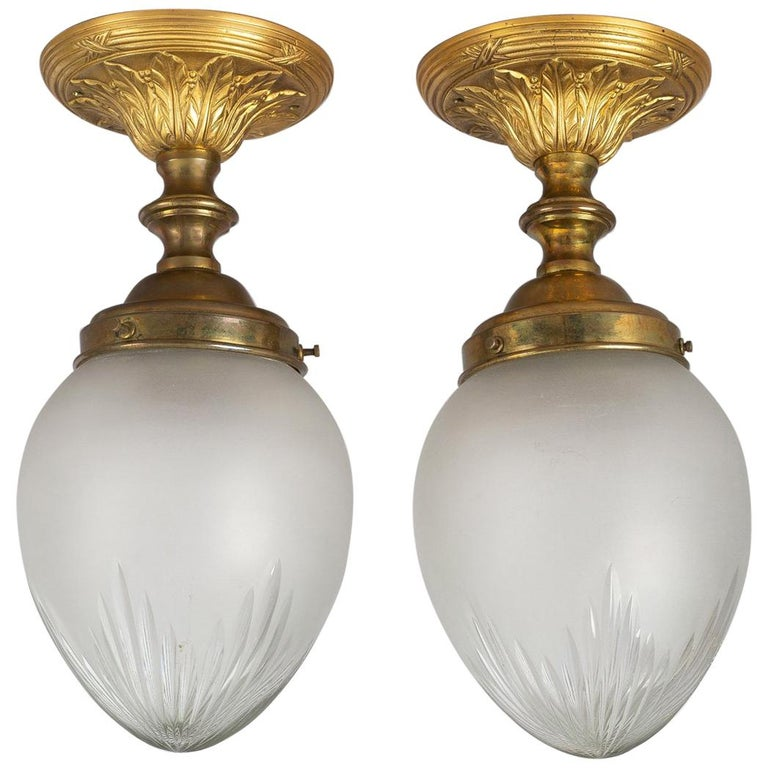 Pair Of Simple Church Lights For Sale: Pair Of Cut-Glass Ceiling Lights For Sale At 1stdibs