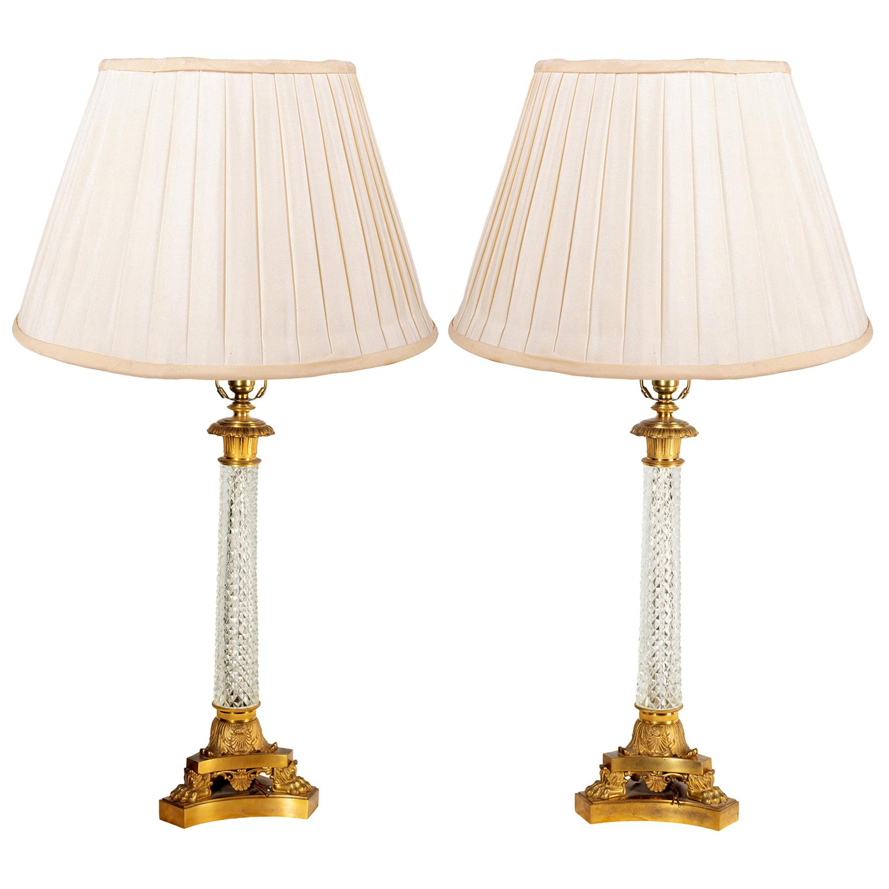 Pair of Cut Glass Classical Empire Style Column Lamps