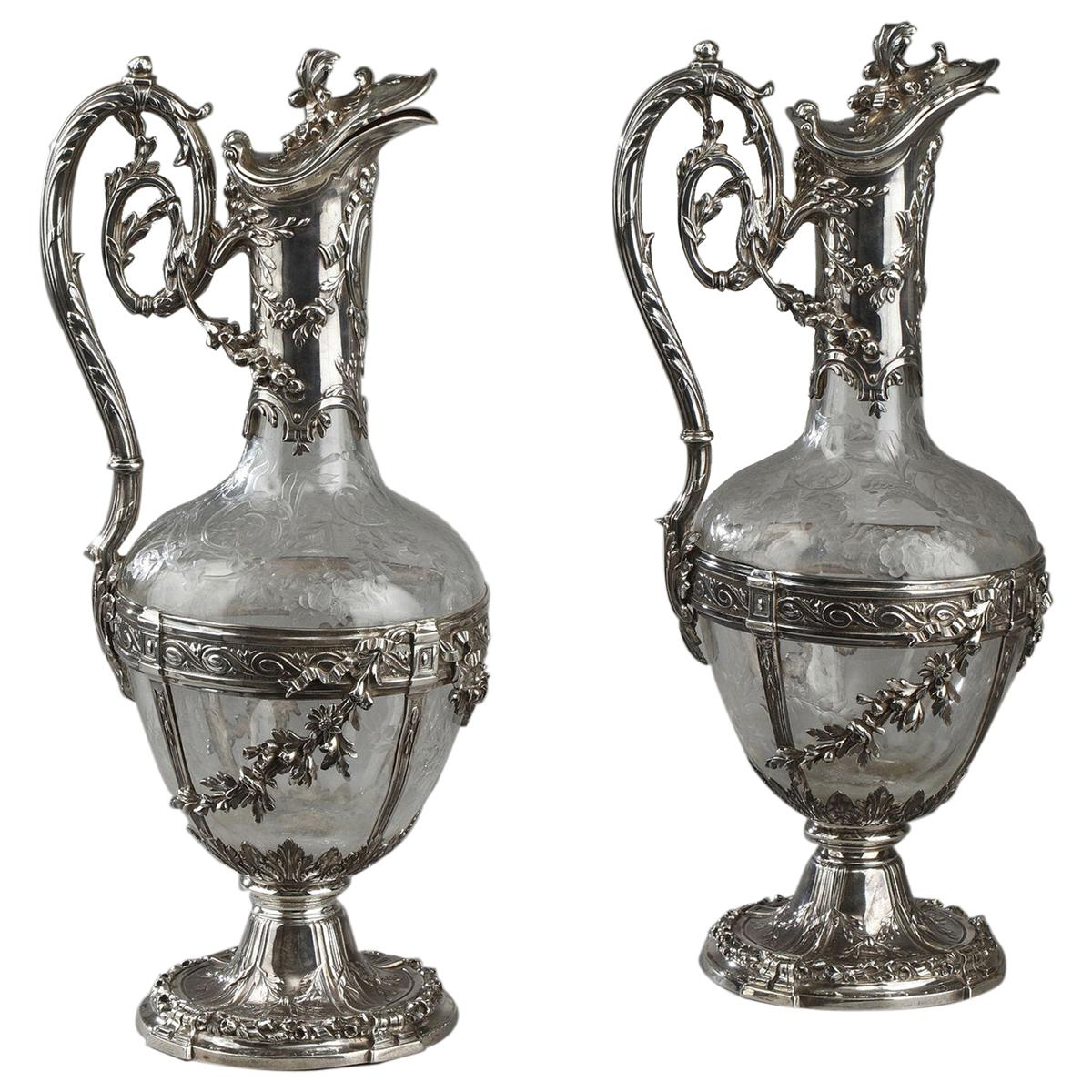 Pair of Cut-Glass Silver-Mounted Decanters, 19th Century, Edmond Tétard