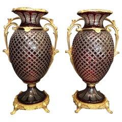 Pair of Cut Glass Urns