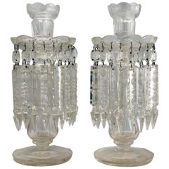 Pair of Cut Lead Crystal Candlestick / Table Lustres