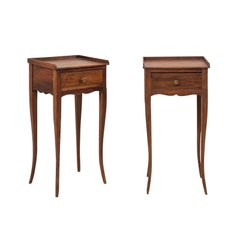 Pair of Cute-Sized French Side Tables with Drawer and Nice Long Cabriole Legs