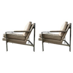 Pair of Cy Mann Leather and Chrome Armchairs in Milo Baughman Style