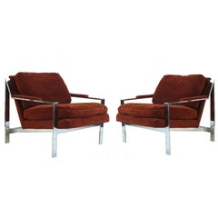 Pair of Cy Mann Mid-Century Modern Chrome Lounge Chairs