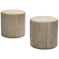 Pair of Cylindric Coffee Tables in Travertine