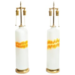 Pair of Cylindrical White Glass Lamps with Orange and Yellow Design by Venini