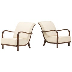 Pair of Cypress Lounge Chairs in the Manner of Halabala