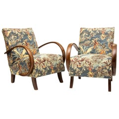 Pair of Czech 1930s Art Deco Armchairs by Jindrich Halabala UP Zavody Brno