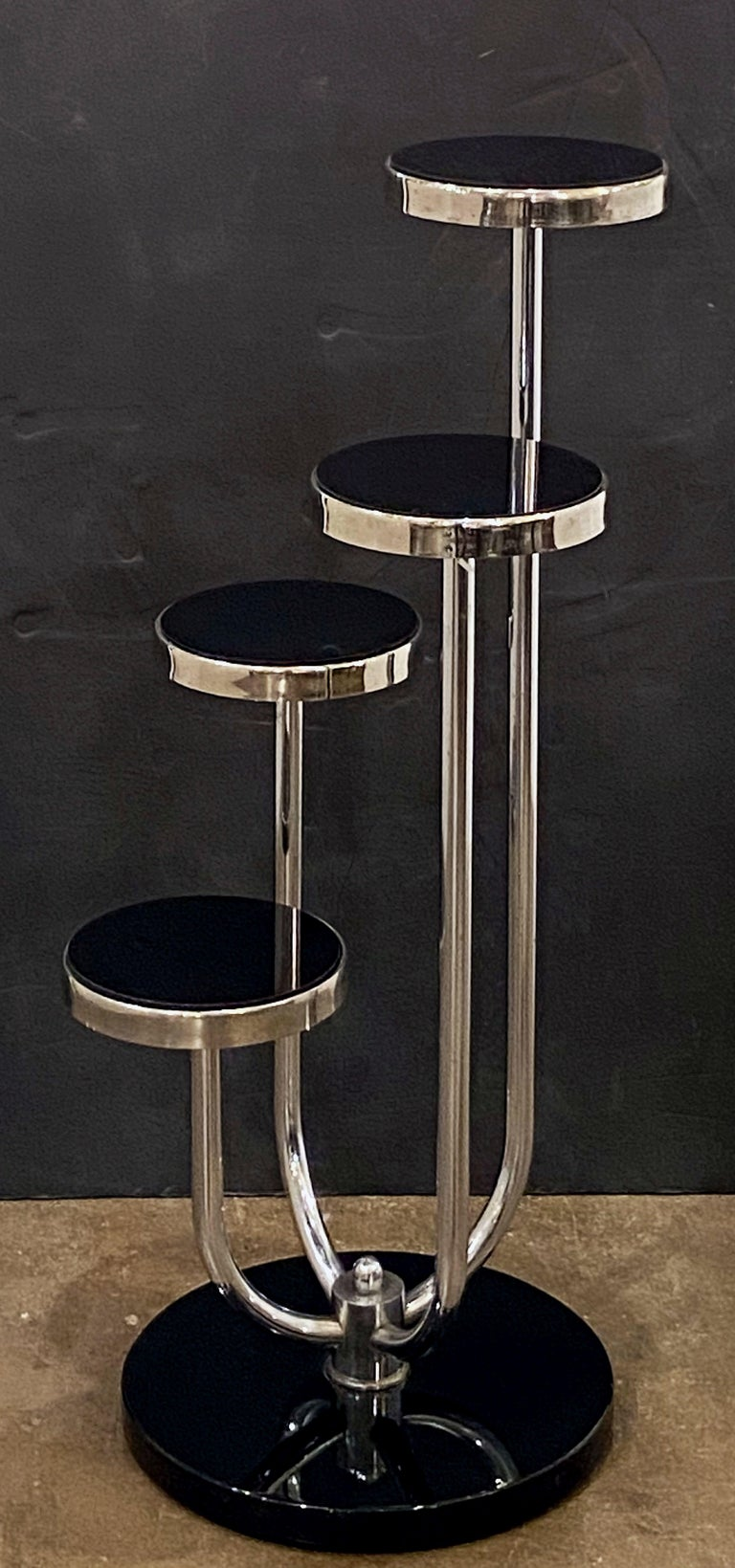 Pair of Czech Art Deco Étagères of Chrome and Smoked Glass 'Priced Individually' For Sale 5