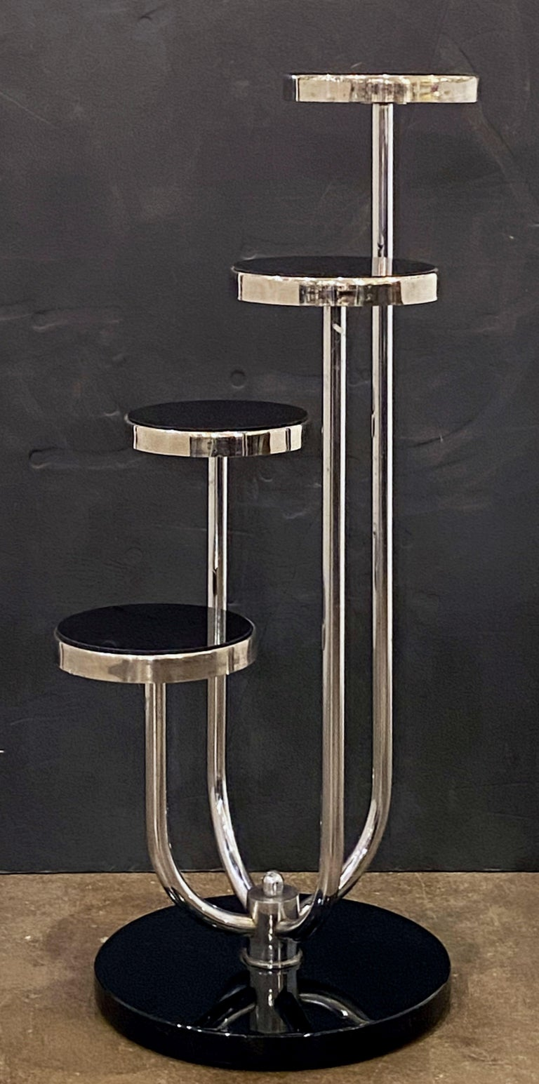 Pair of Czech Art Deco Étagères of Chrome and Smoked Glass 'Priced Individually' For Sale 6