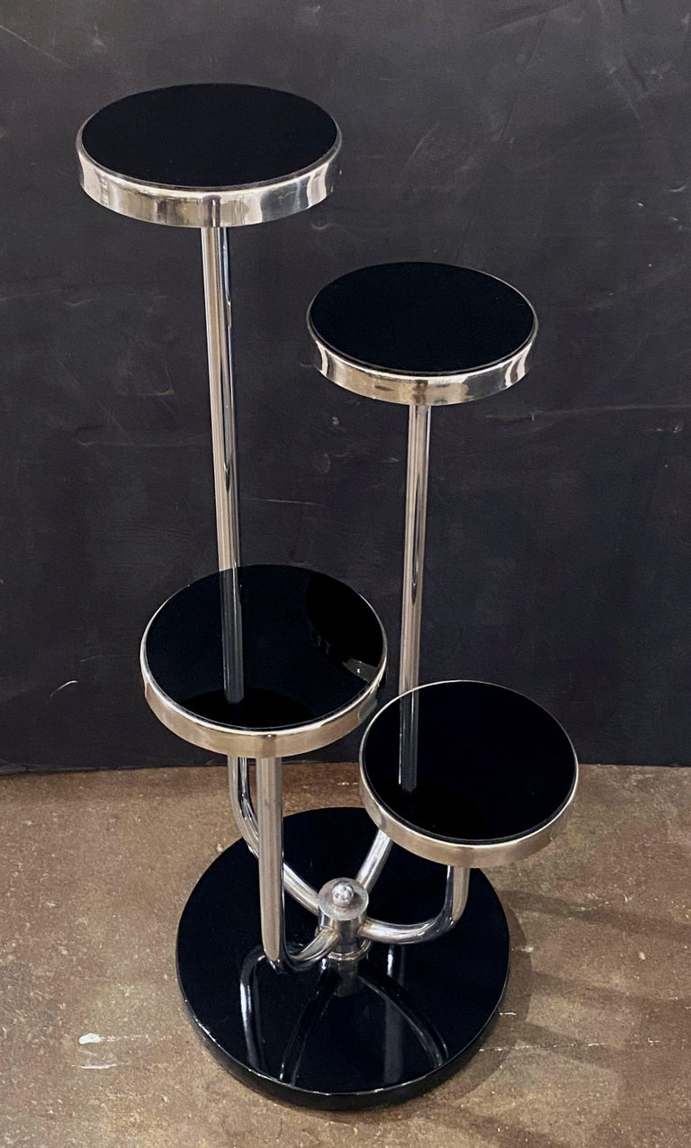 Pair of Czech Art Deco Étagères of Chrome and Smoked Glass 'Priced Individually' For Sale 8