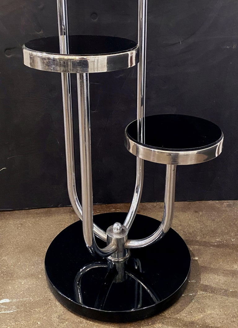 Pair of Czech Art Deco Étagères of Chrome and Smoked Glass 'Priced Individually' For Sale 9