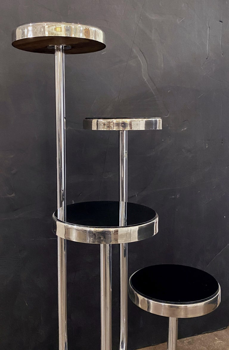 Pair of Czech Art Deco Étagères of Chrome and Smoked Glass 'Priced Individually' For Sale 12