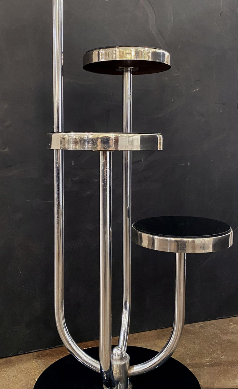 Pair of Czech Art Deco Étagères of Chrome and Smoked Glass 'Priced Individually' For Sale 13