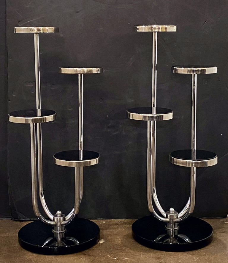 Pair of Czech Art Deco Étagères of Chrome and Smoked Glass 'Priced Individually' In Good Condition For Sale In Austin, TX