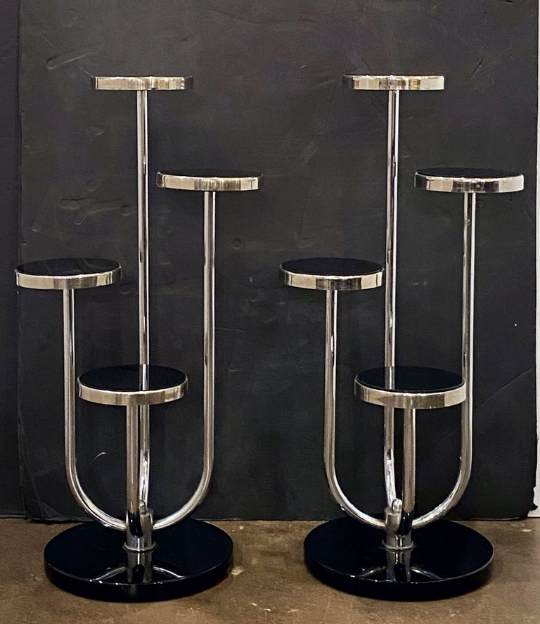20th Century Pair of Czech Art Deco Étagères of Chrome and Smoked Glass 'Priced Individually' For Sale