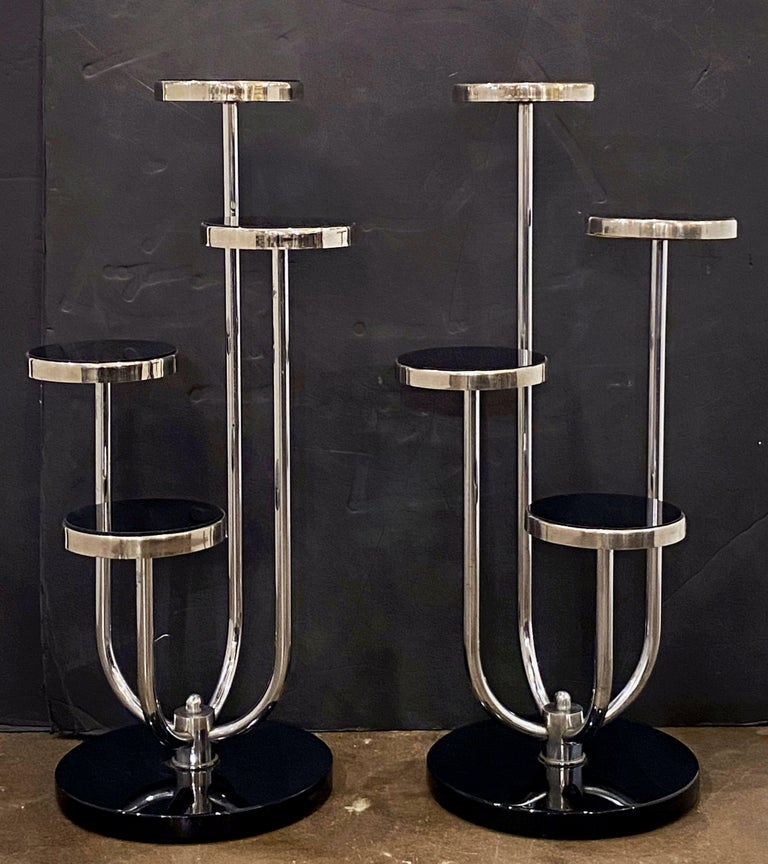 Enamel Pair of Czech Art Deco Étagères of Chrome and Smoked Glass 'Priced Individually' For Sale