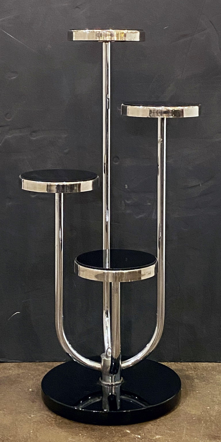 Pair of Czech Art Deco Étagères of Chrome and Smoked Glass 'Priced Individually' For Sale 1
