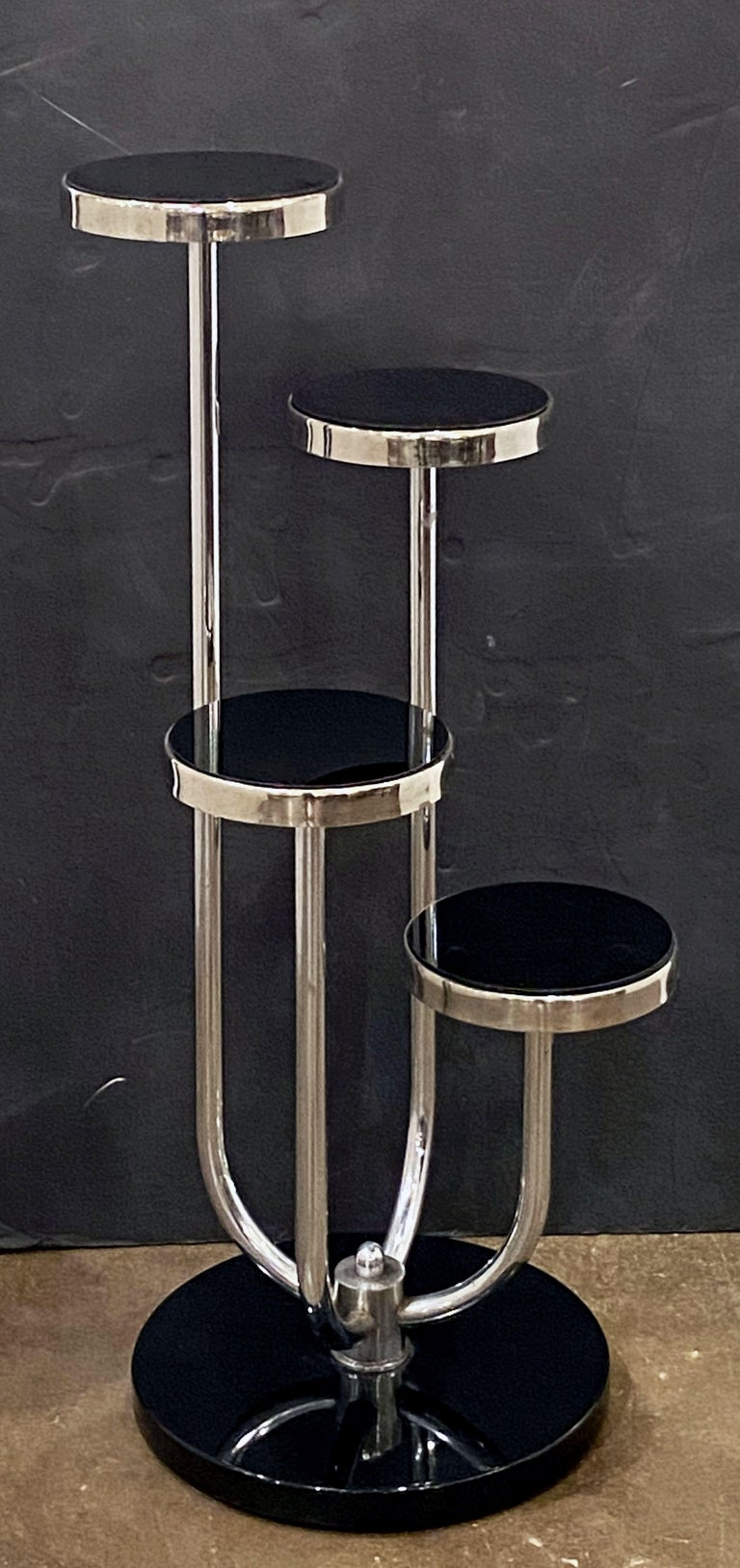 Pair of Czech Art Deco Étagères of Chrome and Smoked Glass 'Priced Individually' For Sale 2