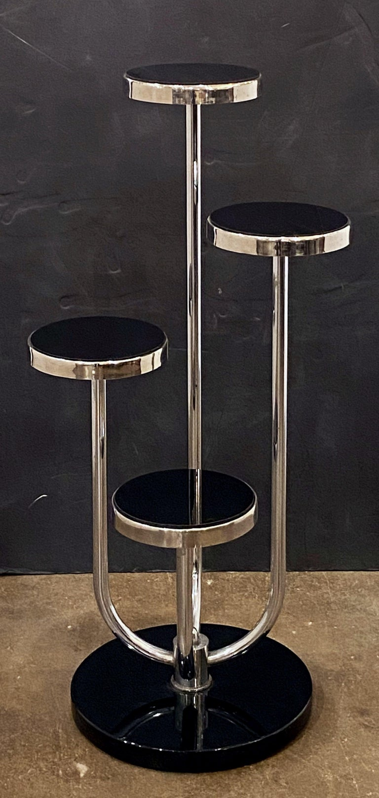 Pair of Czech Art Deco Étagères of Chrome and Smoked Glass 'Priced Individually' For Sale 3