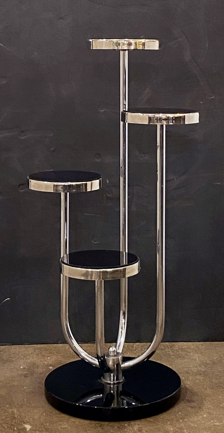 Pair of Czech Art Deco Étagères of Chrome and Smoked Glass 'Priced Individually' For Sale 4