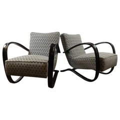Pair of Czech Art Deco Lounge Armchairs H269 Design by Jindrich Halabala, 1940s