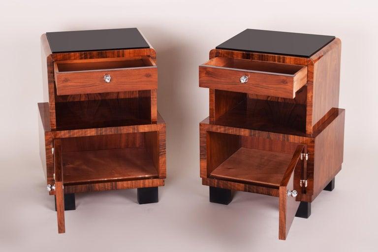 Pair Of Czech Artdeco Bed Side Tables High Gloss Walnut Black Glass 1930 1939