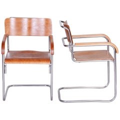 Pair of Czech Bauhaus Armchairs by Mücke and Melder, Chrome, 1930s