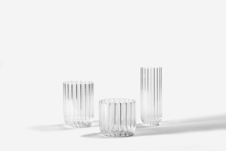 Pair of Czech Contemporary Dearborn Champagne Flute Glasses Handmade, in Stock In New Condition For Sale In Chicago, IL