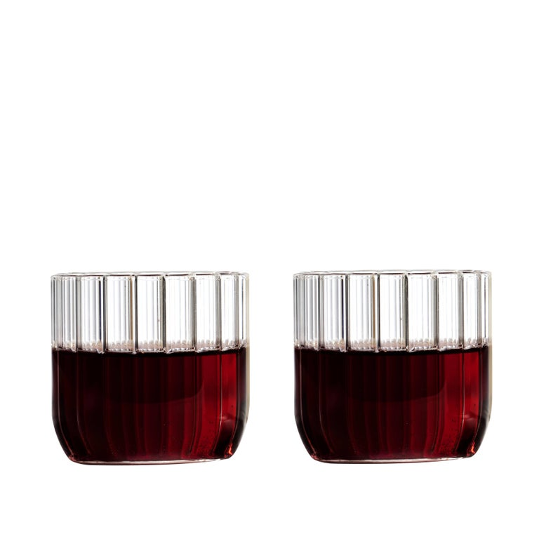 Modern Pair of Czech Contemporary Dearborn Wine Cocktail Glasses Handmade, in Stock For Sale