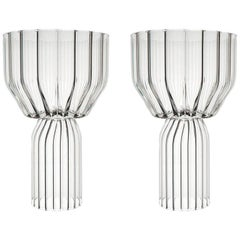 EU Clients Pair of Czech Contemporary Goblet Wine Cocktail Glasses in Stock