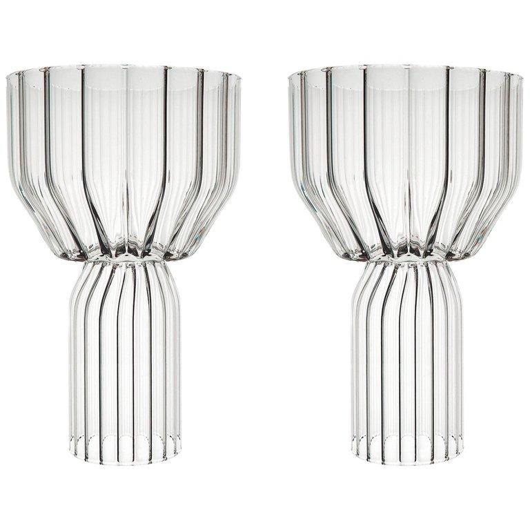 EU Clients Pair of Czech Contemporary Goblet Wine Cocktail Glasses in Stock For Sale